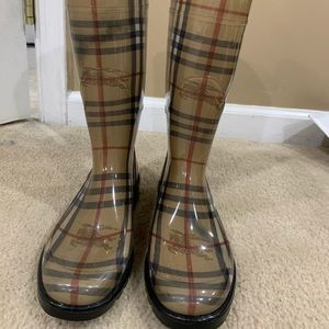 Knee high Burberry rain boots